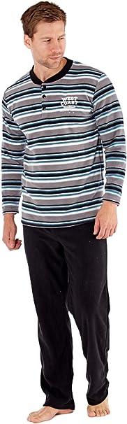 Conjunto de pijama de manga larga y suave con forro polar térmico para hombre Gris Gris M
