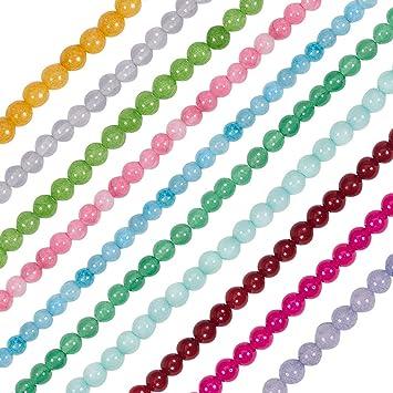6mm in verschiedenen Farben 1 Strang runde Glasperlen ca