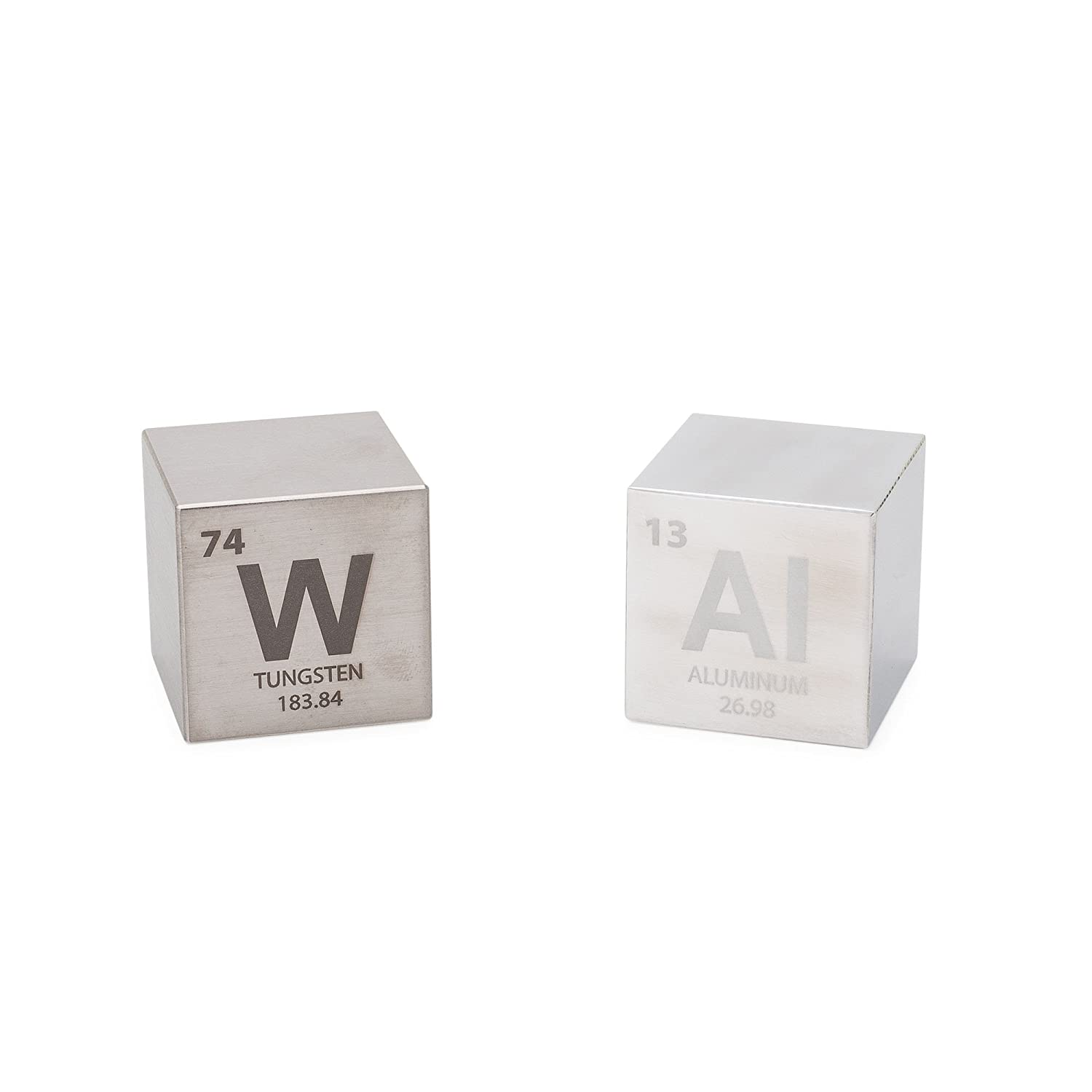 Tungsten Aluminum 15 Cube Set Engraved Elemental Symbol