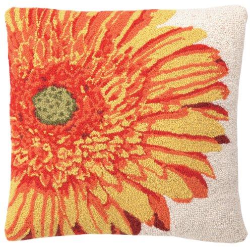 Peking Handicraft 18 by 18-Inch Hook Pillow, Yellow Gerbera
