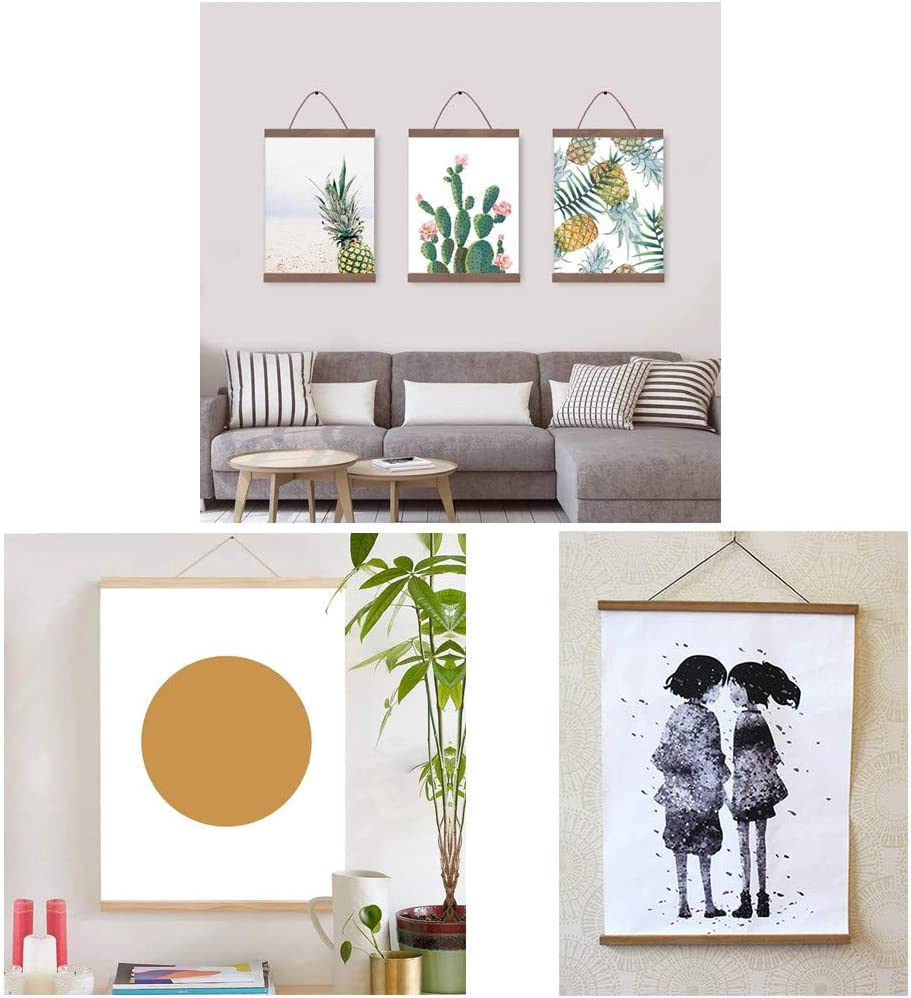 Miaowater 2 Pack Poster Frame,16x16 16x20 16x22 16x24 Magnetic Light Wood Wooden Frames Hanger for Photo Picture Art Canvas Print Artwork Wall Hanging Teak Wood 16