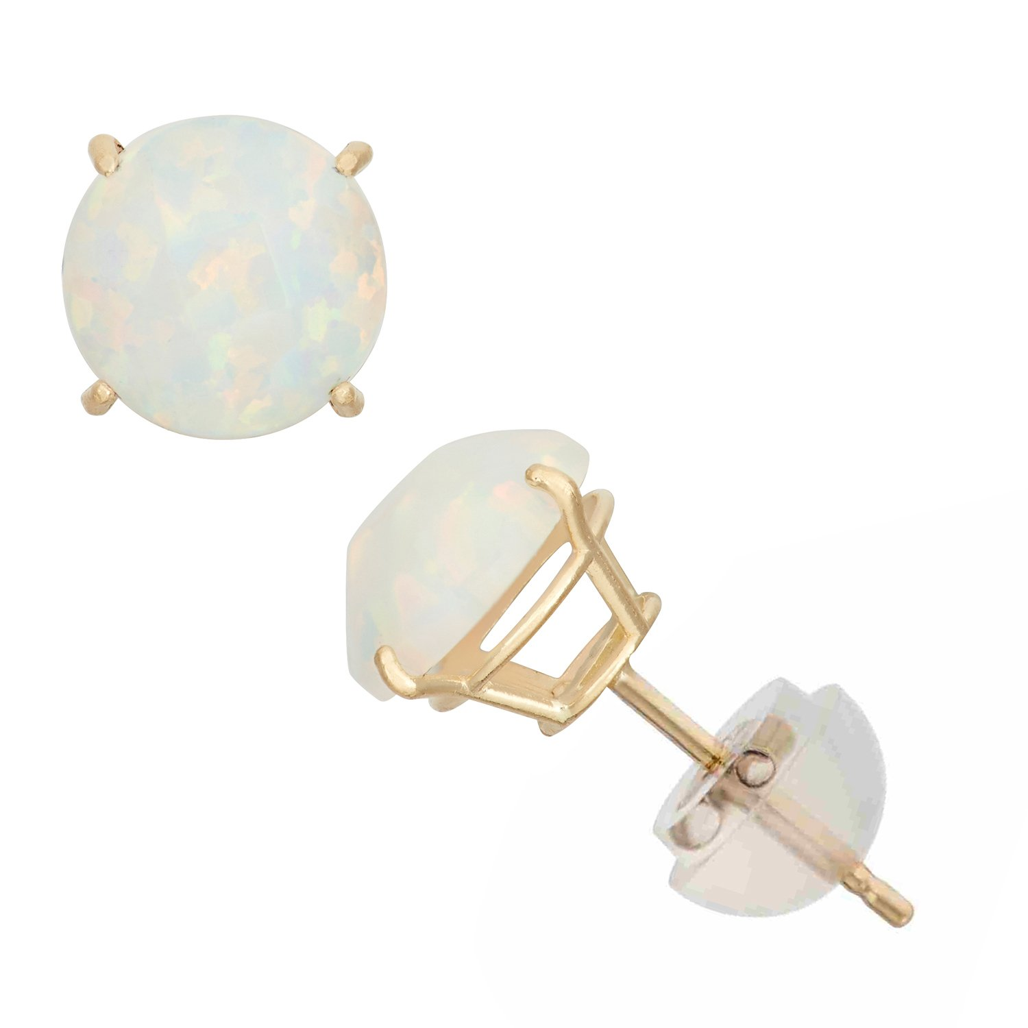 Synthetic Opal Round Stud Earrings in 10K Yellow Gold, 6mm, Comfort Fit