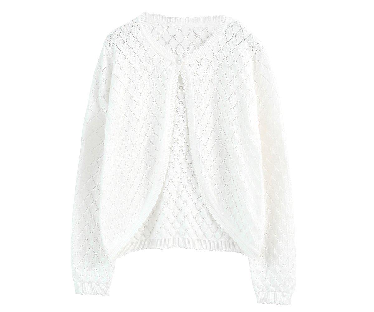 SMILING PINKER Little Girls' Long Sleeve Sweater Cardigan Diamond Knit Bolero Shrug(5-6t,White)
