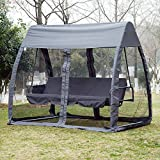 Outsunny 3 Seat Garden Swing Chair All Weather 2 in 1 Outdoor Rocking Bench with Cover Tent Water Resistant Roof + Zipped Door and Mesh Side Panel