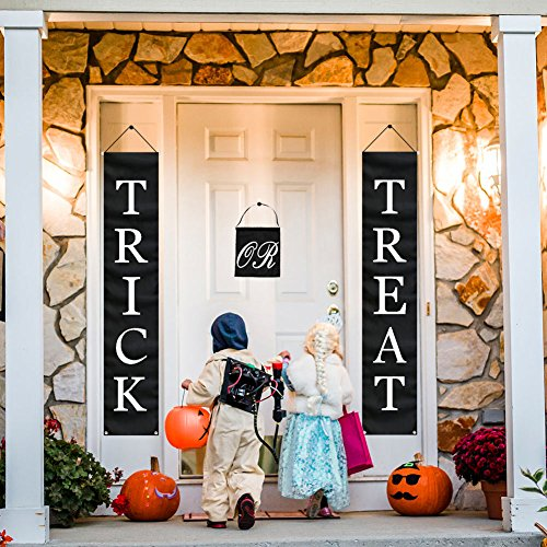 Aytai 1 Set Halloween Trick or Treat Banner Outdoor, Upgrade Halloween Hanging Sign for Home Office Porch Front Door Halloween Decorations for Ready to Welcome Kids ()
