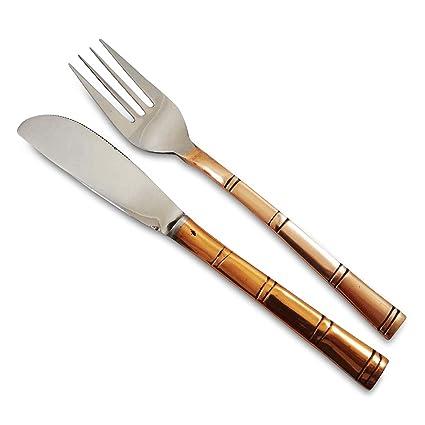 Acero Cobre Indio Cubiertos Tenedor Cuchillo tradicional ...