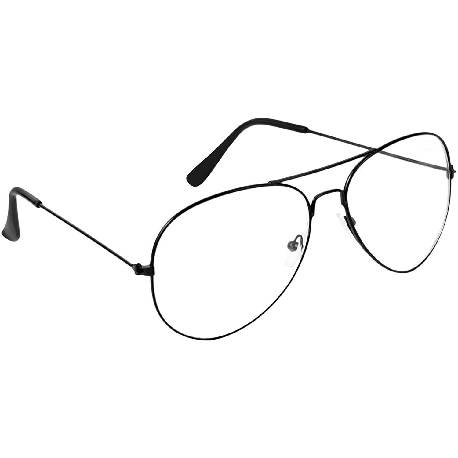 d2584d160f Dervin Clear Lens Black Frame Aviator Sunglasses for Men and Women  (Transparent Lens)  Amazon.in  Clothing   Accessories