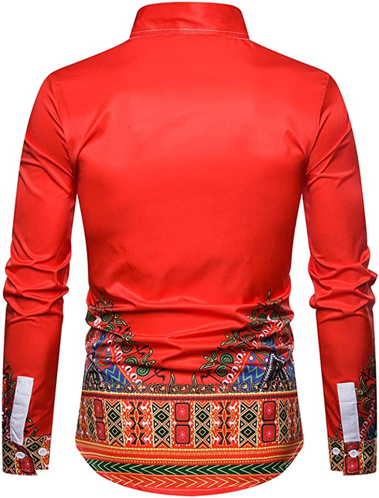 MODOQO Mens Long Sleeve African Dashiki Button Down Floral Print Slim Fit Dress Shirt