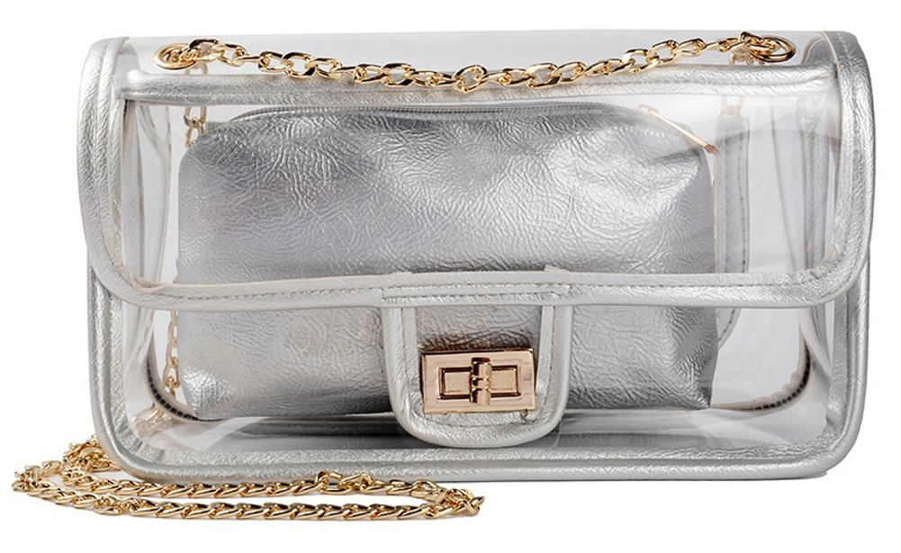 Clear Crossbody Bag for Women,The Transparent Tote bag with Chain Messenger Shoulder Handbag Purse for Stadium Approved