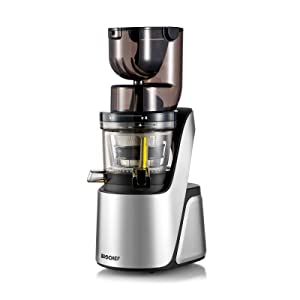 BioChef Quantum Whole Slow Juicer - With powerful 300 W motor, wide chute (3.15 x 3.15 inch) & many accessories in silver