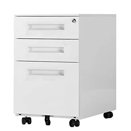 amazon com soges 3 drawer with handle rolling mobile file cabinet rh amazon com 3 drawer lateral file cabinet with lock hon 3 drawer file cabinet with lock
