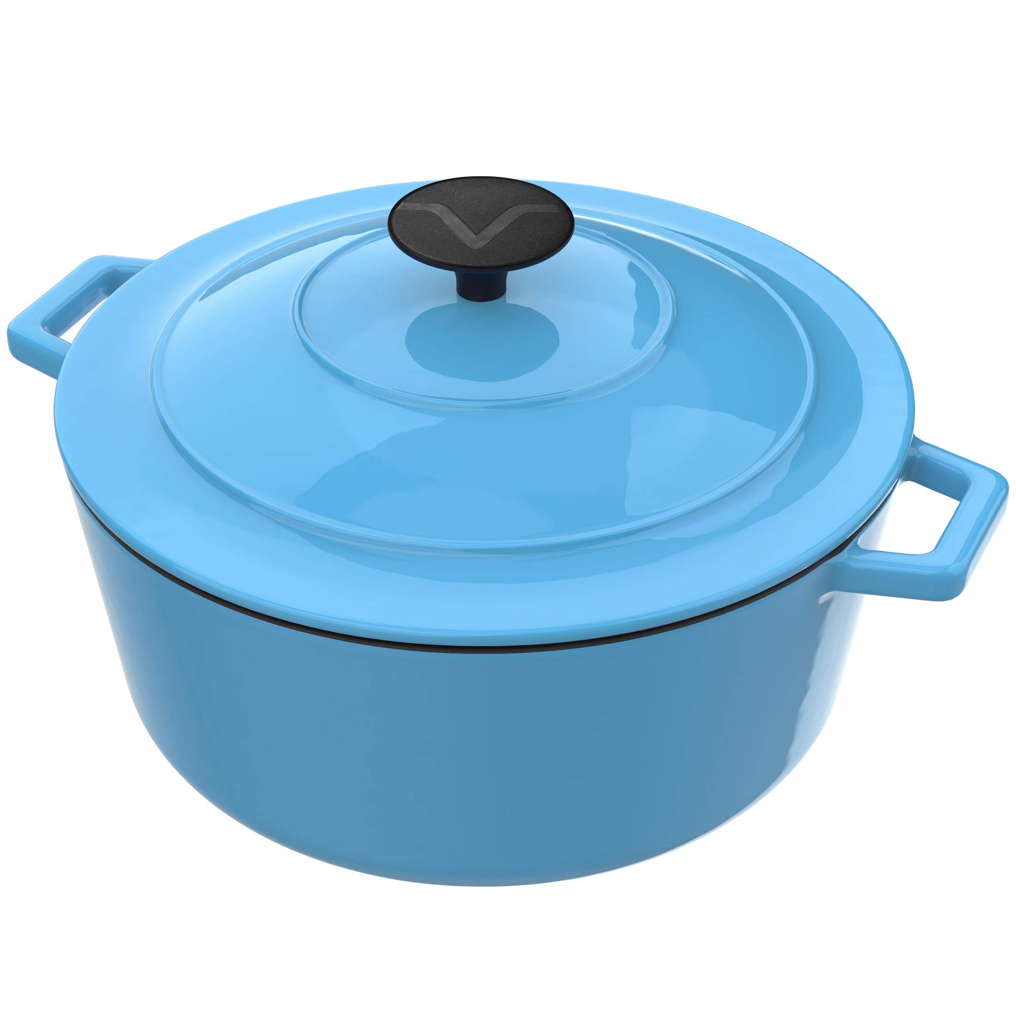Vremi Enameled Cast Iron Dutch Oven Pot with Lid - 6 Quart Capacity for Preparing Low and Slow Cooking Meals - Electric Gas Stove Top Compatible Cookware - Deep Large - Blue by Vremi