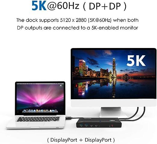 WAVLINK - Estación de acoplamiento universal USB-C doble 4K con puerto de pantalla 5K único o doble, 2 DisplayPort, 2 puertos HDMI, 2 puertos USB-C, 4 puertos USB 3.0, Gigabit Ethernet, 60