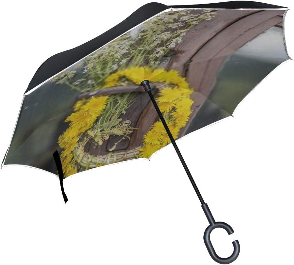Double Layer Inverted Inverted Umbrella Is Light And Sturdy Dandelion Flowers Wreath On Door Handle Reverse Umbrella And Windproof Umbrella Edge Nigh