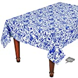 60x96'' Rectangular Versailles Blue Cotton Coated Provence Tablecloth by Le Cluny