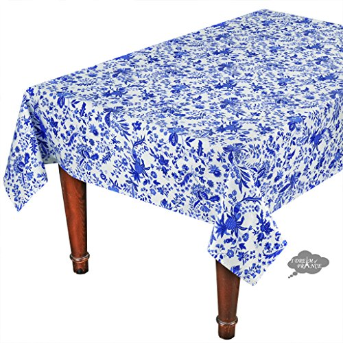 60x96'' Rectangular Versailles Blue Cotton Coated Provence Tablecloth by Le Cluny by Le Cluny French Linens