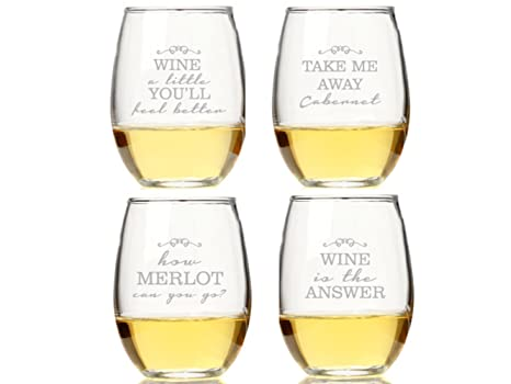 Amazon Com Wine Quotes Stemless Wine Glasses Set Of 4 Wine Glasses