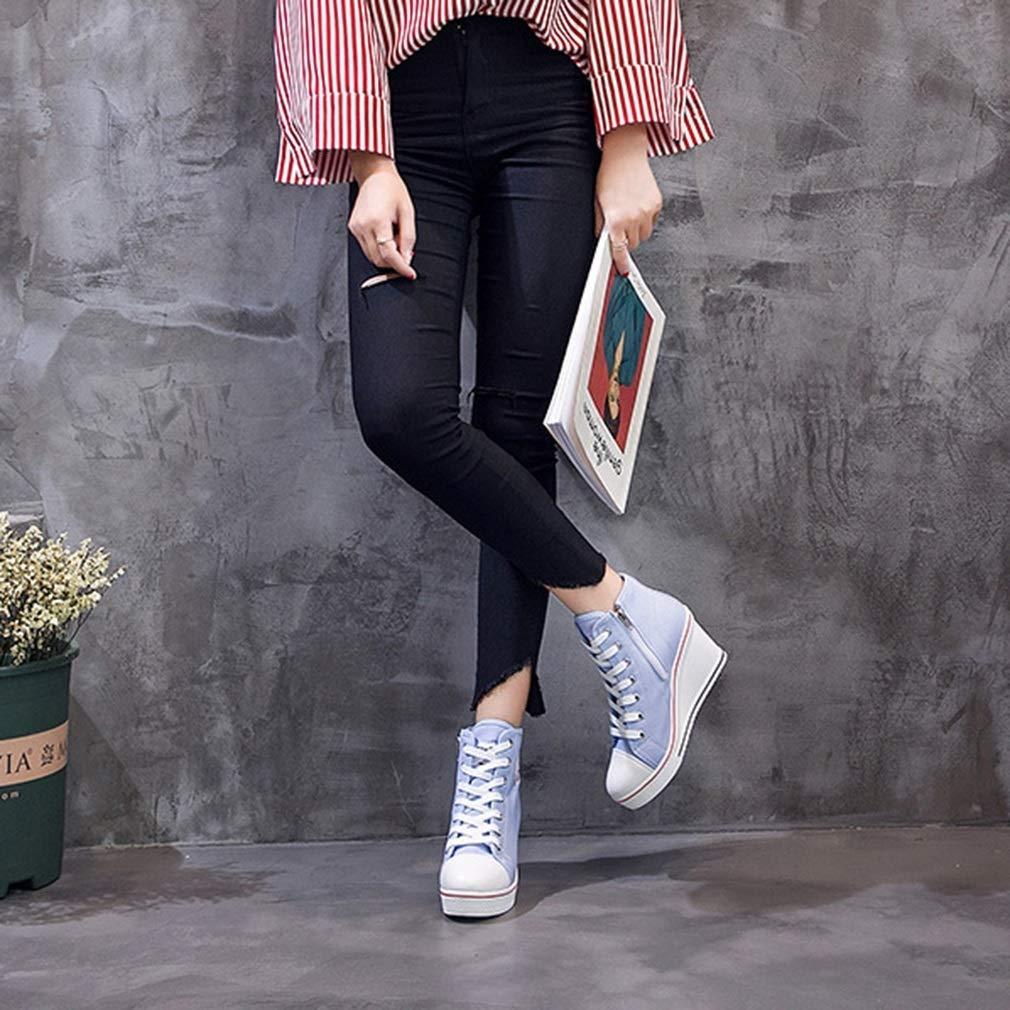Baskets Compens/ées en Toile pour Femmes Chic Talon Haut Chaussure /à Lacets et /à Glissi/ère Lat/érale Mode et Respirant Cheville Haut Platform Casual Sneakers