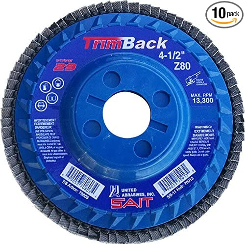 10-Piece SAIT 70913 Trim Back Flap Disc with 4-1//2-Inch Diameter and 5//8-11-Inch Arbor United Abrasives