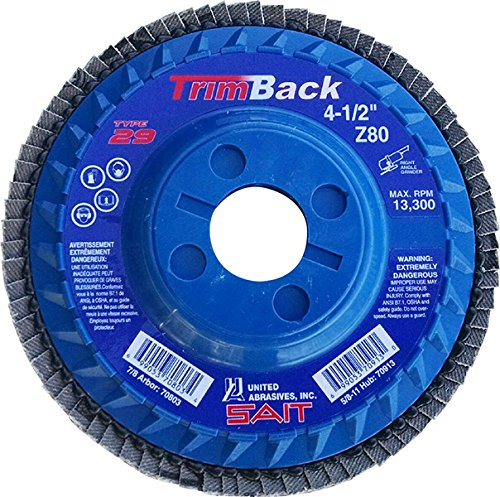 United Abrasives- SAIT 70808 Trim Back Flap Disc with 5-Inch-Inch Diameter and 7/8-Inch Arbor, 10-Piece