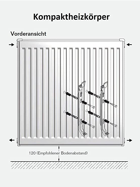 Typ 22 C-profiliert Flachheizk/örper Buderus Logatrend 600 BH x vers. mit Wandbefestigungsset FMS BL: 1200
