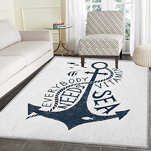 Anchor Area Rug Carpet Hand Drawn Everybody Needs Vitamin Sea Quote Monochrome Fish Silhouette Living Dining Room Bedroom Hallway Office Carpet 5'x6' Dark Blue and White