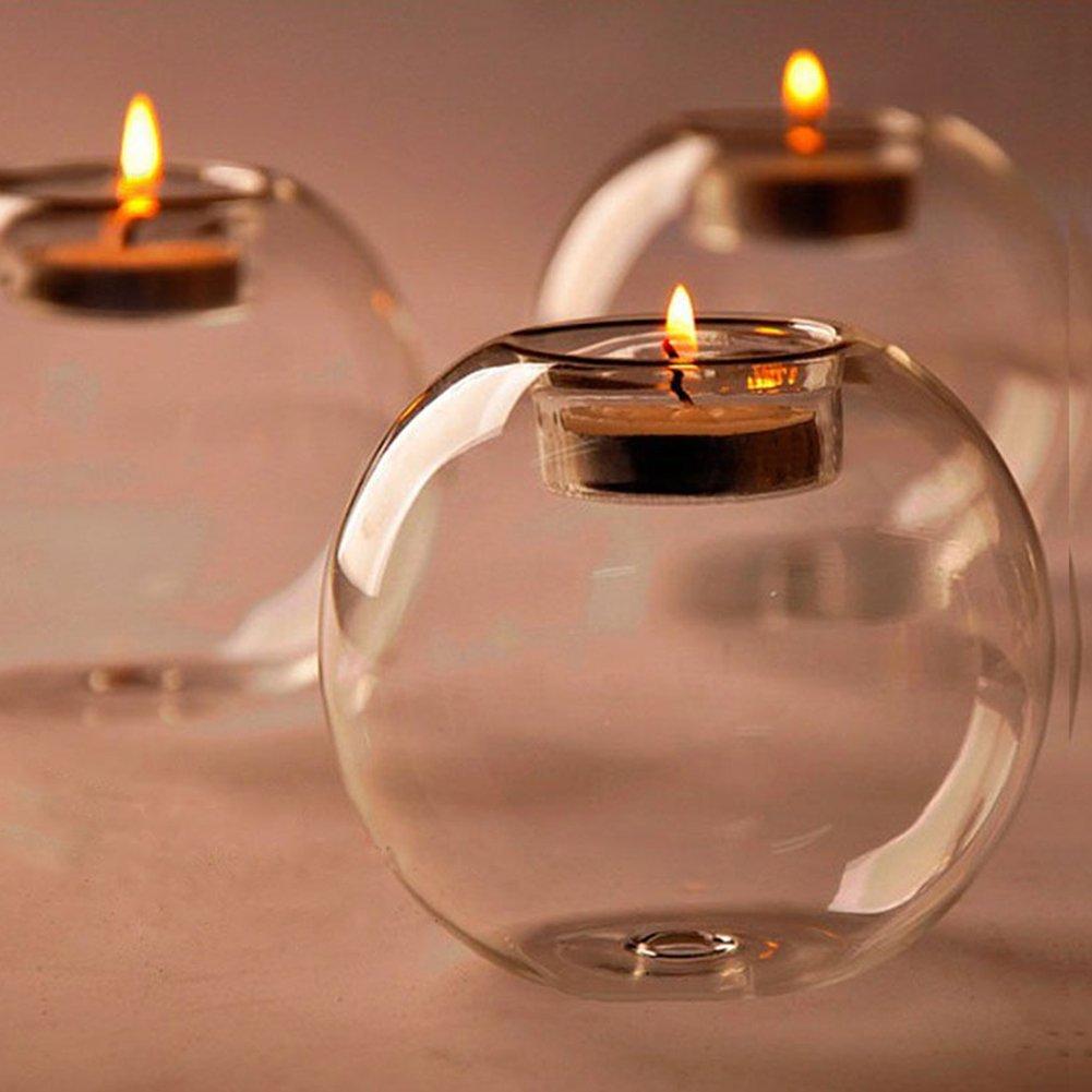 Zhuotop- Portacandele in vetro in stile classico, per feste, matrimoni, bar e feste nuziali.