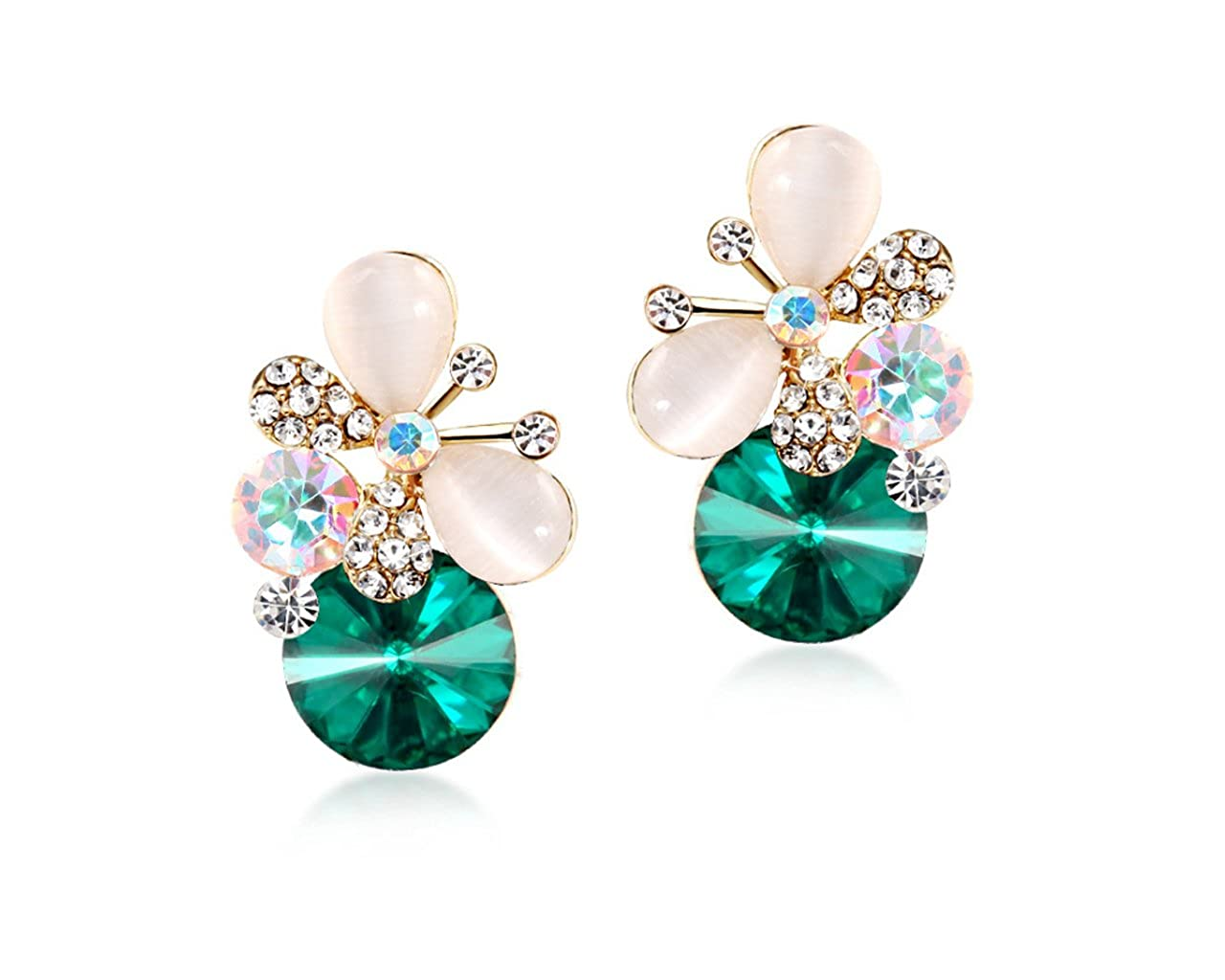 Glitz Hot Fashion Exquisite Crystal Butterfly Stud Earrings for Girls//Women