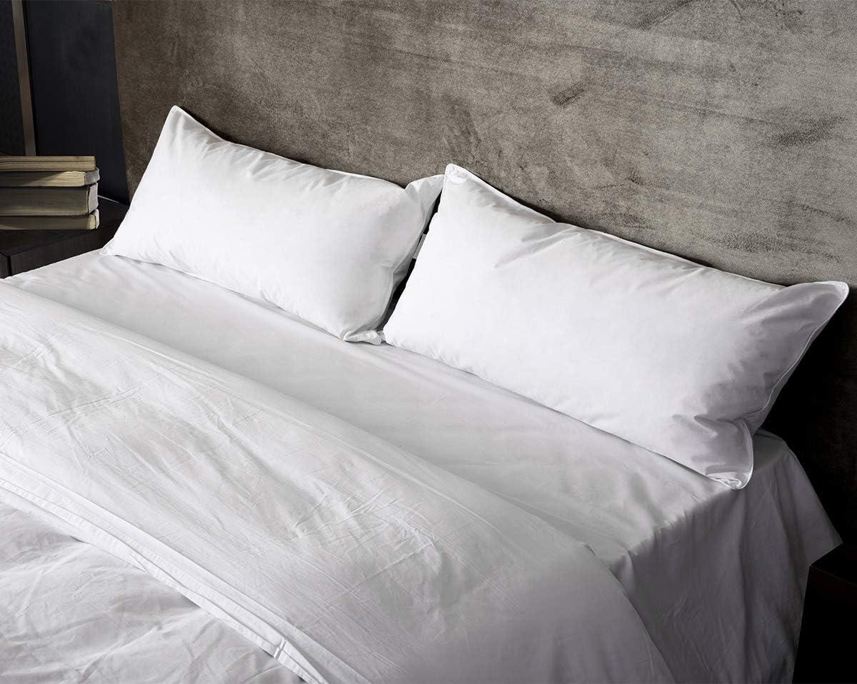 40 x 80 cm Umi.Essentials Oreiller en Plumes et Duvet doie Blanche avec Housse en Coton Lavable en Machine Lot de 2