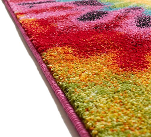 """Tie Dye Retro Rainbow Trippy Multi Hippie Red Orange Yellow Green Modern Painting 2x3 (20""""x31"""" Mat) Area Rug Easy Clean Stain Fade Resistant Shed Contemporary Geometric Art Thick Soft Plush"""