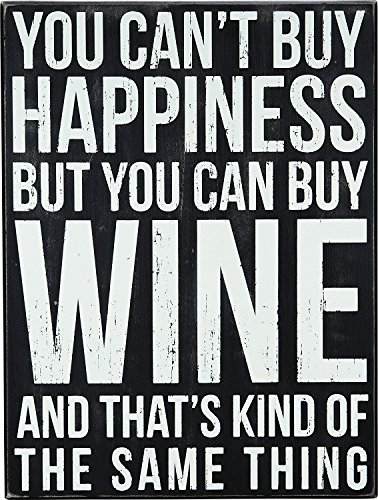 Primitives by Kathy Drinking- Wine Box Sign, Wine & Happiness