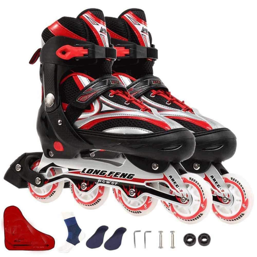 ZYH ローラースケートインラインスケート大人用ローラースケート男女インラインスケート調節可能なサイズ単列スケート LA 赤 B07R1VF91K