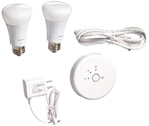 Philips Hue Lux 60W Equivalent A19 LED Personal Wireless Lighting Starter Kit, 1st Generation, Compatible with Alexa.