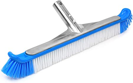 """18/"""" In//Above Ground Swimming Pool Curved Wall Floor Brush w//Aluminum Handle US"""