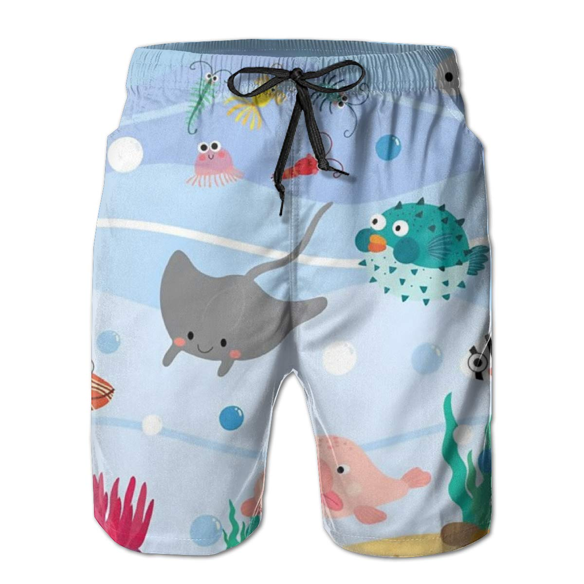 Ocean Animals Cartoon Beach Shorts Quick Dry Swimming Trunks Mens Cozy Summer Surf Swim Trunks Beach Pants with Pockets