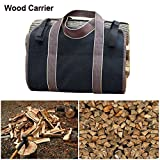 hsn_prm 35'' long X 16'' wide Firewood bag Log carrier Canvas Double stitched Heavy duty