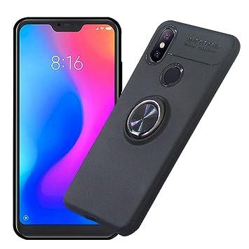AhaSky Xiaomi Mi A2 Lite Funda,Carcasa con 360 Grados Anillo Kickstand Mi A2 Lite, Shock-Absorción Silicona Case para Xiaomi A2 Lite - Negro