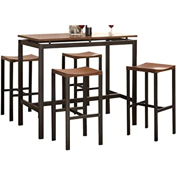 Atlus 5 Piece Counter Height Dining Set Black And Brown