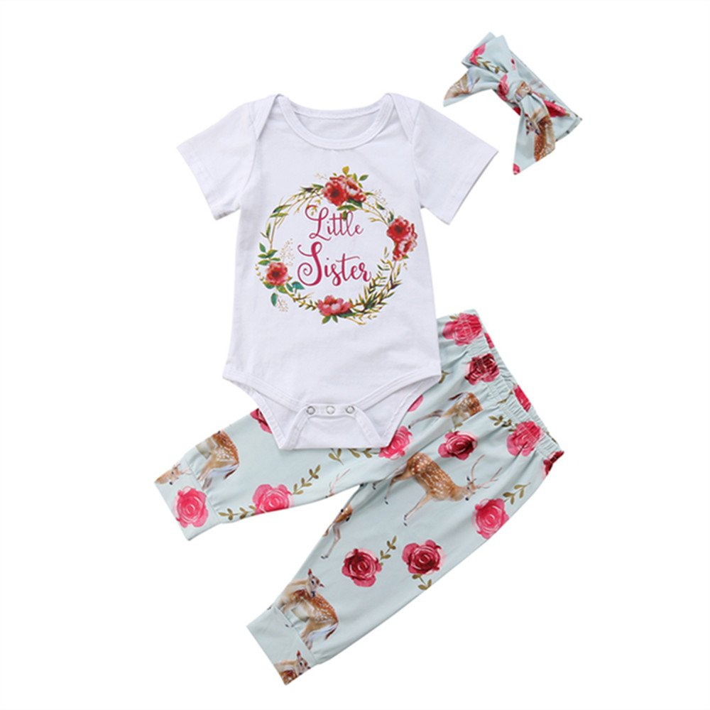 b30f37387 Amazon.com: Newborn Girl Clothes Baby Sister/Little Sister Onesie Romper  Bodysuit Tops Floral Pants Bowknot Headband Outfits Set: Clothing