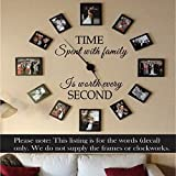 Wall Decal Decor Time Spent With Family is Worth Every Second - Family Wall Clock Vinyl Decal Picture frame Decal Wall Art Sticker(brown,s)