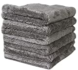 (6-Pack)LANTEENSHOW 16x16 inches Professional Korea 80/20 Blend Super Ultra Plush Thick Microfiber Cleaning Towels For Car Wash,500 GSM Edgeless (16x16 Inches) (gray)