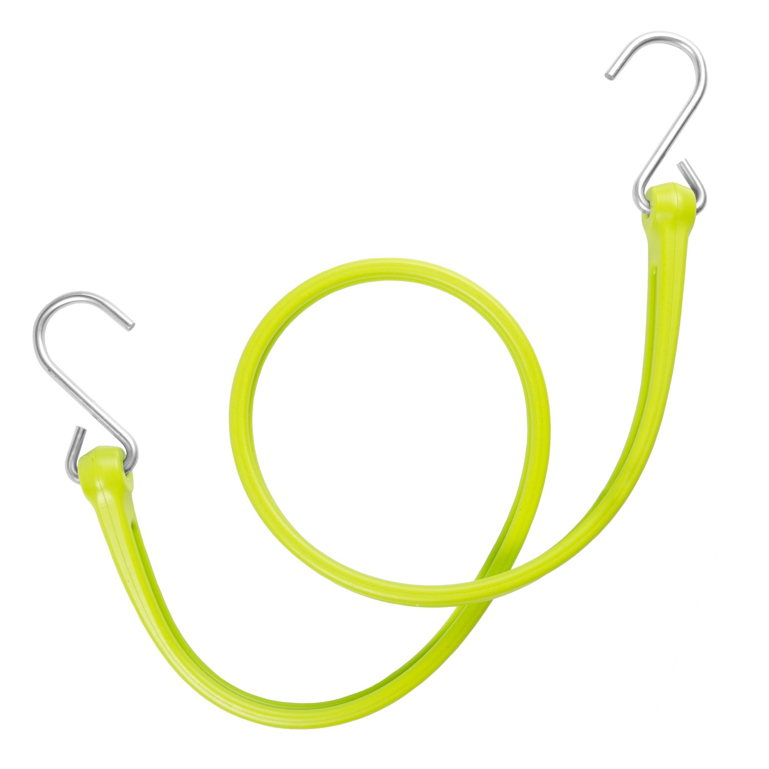 The Perfect Bungee by BihlerFlex, PB36G4PKP Standard Duty Strap with Galvanized Hook, 36'', Safety Green, 4-Pack