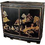 """Oriental Furniture 32"""" Japanese Slant Front Cabinet - Black Landscape"""