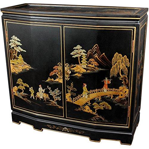"Oriental Furniture 32"" Japanese Slant Front Cabinet - Bla..."
