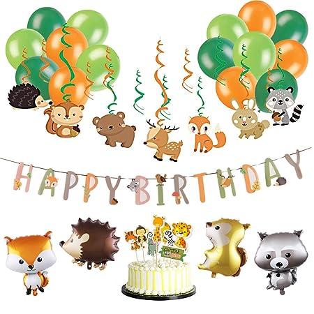 Anniversaire Animaux.Sunbeauty Anniversaire Animaux De La Foret Happy Birthday Decoration Kit Tourbillon Suspendu Guirlande Papier Banner Jungle Animal Party Deco Pour