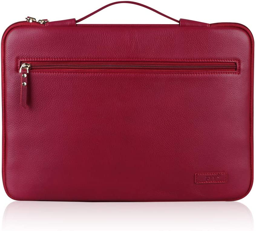 """FYY 12-13.5"""" [Premium Leather] Laptop Sleeve Case Cover Bag for MacBook Pro/ MacBook Air/ iPad Pro 12.9 2018 2017 2016, Laptop Bag for 12""""-13.5"""" Surface Lenovo Dell HP ASUS Acer Chromebook Wine Red"""