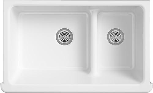 KOHLER K-6426-FD Whitehaven Farmhouse Smart Divide Self-Trimming Undermount Apron Front Double-Bowl Kitchen Sink with Short Apron, 35-1 2-Inch X 21-9 16-Inch X 9-5 8-Inch, Cane Sugar