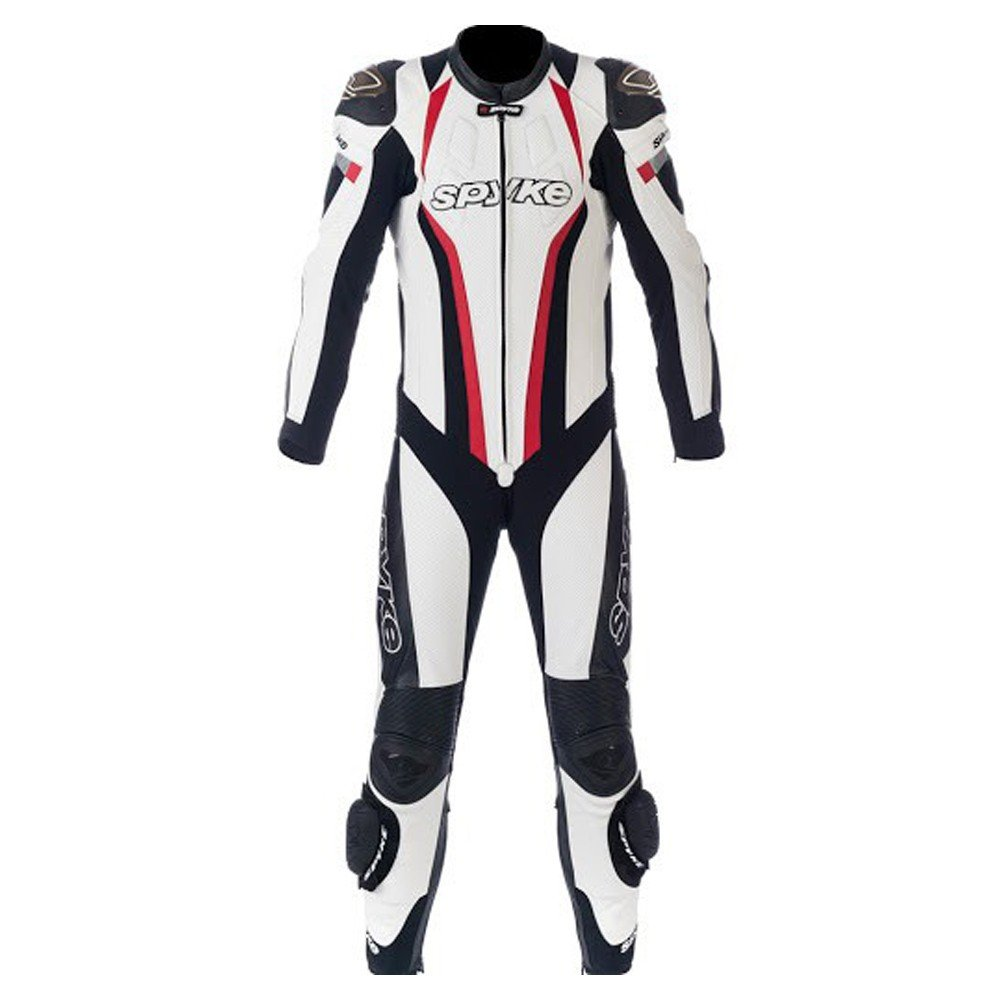 Spyke TOP SPORT MIX KANGAROO Leather Motorcycle Racing Suits for Men White/Black/Red US XXXL/58 EU