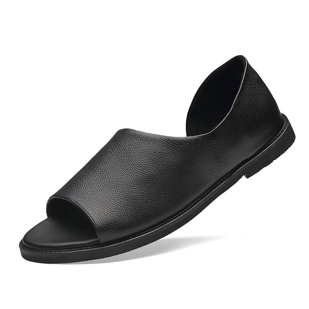 ZJM-sandalia Sandalia de cuero de estilo romano Zapatos de cuero de punta abierta Zapatos bajos de cuero genuino antideslizante de hombre (Color : Negro, Tamaño : 42) 42 Negro