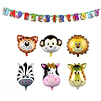 AerWo 6pcs of 22Inch Safari Animal Balloons Birthday Decorations for Kids with Animal Happy Birthday Banner(78inch/2m) Birthday Decoration Banner, Jungle Party Supplies and Baby Shower Decorations
